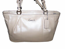 COACH GALLERY SHIMMER LEATHER E/W TOTE SHOULDER BAG, SHELL NWT F17721 SV/Shell
