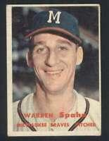 1957 Topps #90 Warren Spahn VG/VGEX Braves 121716