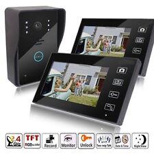"""7"""" Wireless Video Touch Key Camera Door Phone Doorbell Intercom IR 2 Monitors"""