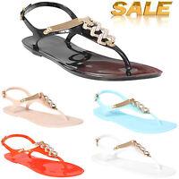 Ladies Womens Flat Diamante Jelly Sandals Summer Flip Flops Beach Shoes Size New