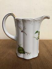 """Vintage I. Godinger JARDIN Insects & Flowers Porcelain 6"""" Pitcher Dragonfly Vine"""