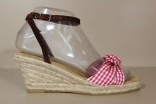 J CREW Womens Ankle-Strap Wedge Heel Sandal Sz 6 Red & White Shoes Italy
