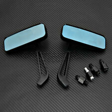 2x Rectangle Black Motorcycle Mirrors Fits Harley Road King Street Electra Glide