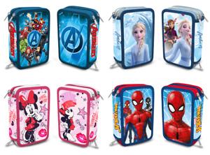 Feder Mappe Mäppchen Tasche 3 fach gefüllt Stifte Avengers Frozen Spiderman