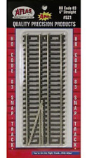 """Atlas #521 HO Scale  6"""" Straight Track (4-pack) - Code 83 Rails"""