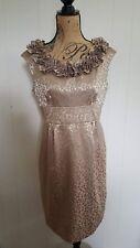 London Times Womens 10 Petite 10P Sheath Dress Gold Textured Sleeveless Floral