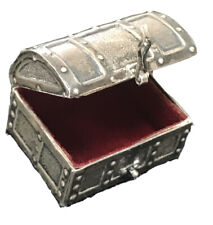 STERLING SILVER TEEASURE CHEST BOX RED FELT LINED TRAVEL VANITY MINIATURE FRILL