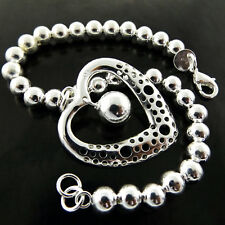Bead Link Cuff Heart Charm Design Bracelet Bangle Real 925 Sterling Silver S/F