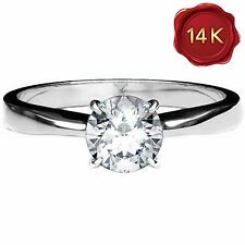 DIAMOND SOLITAIRE RING 0.25 CWT 14 K WHITE GOLD ENGAGEMENT EARTH MINED APRIL BI