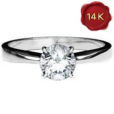 WHITE  DIAMOND SOLITAIRE RING 0.25 CWT 14K WHITE GOLD ENGAGEMENT APRIL BIRTH