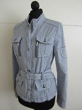 Trendy Apriori Jacke Blazer Gr. 34 Blau Weiß Karo Edel Stretch 1140