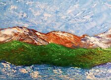 "MOUNTAIN VALLEY LAKE Original Landscape Oil Art Painting 9""x12"" Julia Garcia Art"