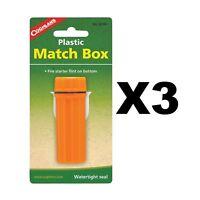 Coghlan's Plastic Match Box Orange Waterproof Case w/Flint Striker (3-Pack)