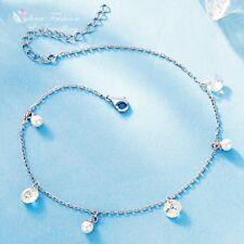 925 Sterling Silver Made With Swarovski Crystal Round Charm Pearl Slim Bracelet