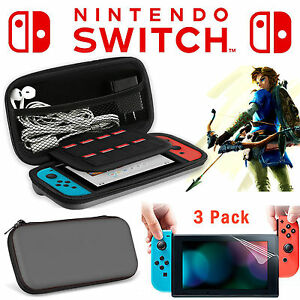 4pc kit Nintendo Switch Travel Carrying Case Bag +2x Clear Screen Protector Film