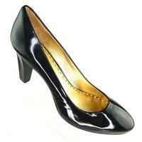 Coach Women's Pumps US 8B Sheri Black Patent Leather Stacked Slim Heel Classic