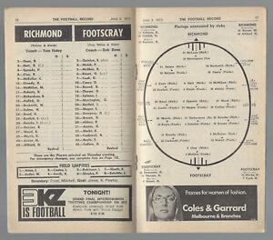 1972 VFL Football Record Richmond v Footscray June 3 Tigers Bulldogs
