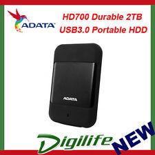 ADATA HD700 Durable 2TB USB3.0 Portable HDD Black; G Shock Sensor