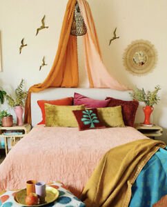 Justina Blakeney Hamsa For Makers Collective FULL QUEEN Quilt & Shams Peach