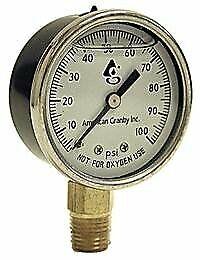 "Water Well Pump Liquid Filled Side Lower Mount Pressure Gauge 0 to 100 PSI, 1/4"""