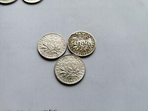 3 Monnaies Argent Semeuse De 50 Centimes 1898 1918 1920