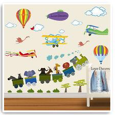 Animal Train Wall Stickers Balloon Airplane Jungle Nursery Baby Room Decals Art