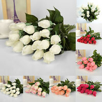 LC_ 10 Head Real Latex Touch Rose Flowers Bouquet Bridal Wedding Home Decor No