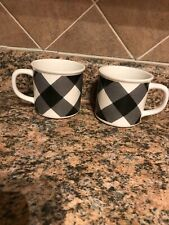 New listing Pottery Barn Buffalo Check cups Black White Set of 2 new