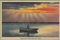 Vintage Michigan MI Postcard Beautiful Color Greetings from Sandusky posted 1941