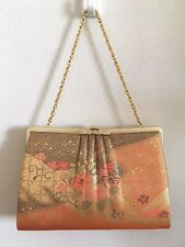 Japanese Kimono Hand Bag Gold Orange Flowers Wedding / Party Pre-loved F/S