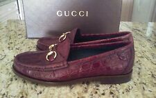 NEW GUCCI WOMAN CAIMAN ALLIGATOR HORSEBIT SHOES LOAFERS CHERRY GLOSS  371/2