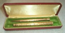 vintage Parker yellow gold plated  fountain pen pencil set in box
