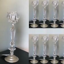 "Lot 10 Slender 14"" Tall Crystal Flower Candelabra Candle holder Centerpieces"