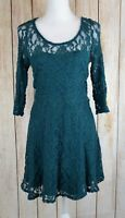Material Girl Juniors Lace Illusion Skater Dress Fit & Flare Dress A-Line Teal M