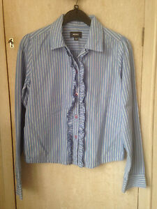 Mexx Girls Age 14 Smart Striped Blue And White Shirt