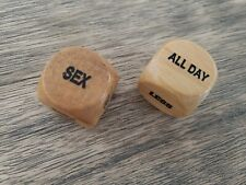 WOODEN WOOD LOVE SEX DICE BEDROOM GAME - 2 DICE