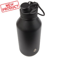Large 64 oz Water Bottle Double Wall Vacuum Insulated Cold Hot Wide Mouth Black