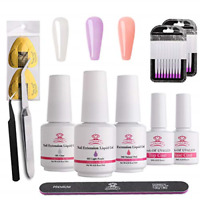 Makartt Poly Nail Extension Gel Kit Clear Pink Nail Builder Liquid Gel Set Quick