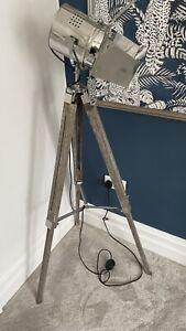 USED Theatre Spotlight Wooden Tripod Floor Lamp Lighting Lamp