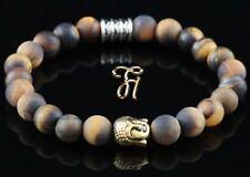 Oeil de Tigre Braun Mat Bracelet Perles Tête Bouddha or 8mm