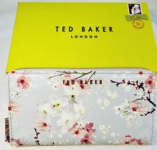 Ted Baker Oriental Blossom Patent Zip Matinee Women Purse With Box Light Grey