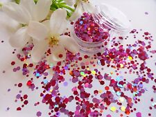 Nail Art Chunky *Love* Pink Red Hexagons Glitter Spangles Mix Tip Pot Decoration