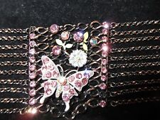 Statement Bracelet Layered Rhinestone Crystals Butterfly Floral Chains Pink