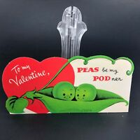 Vtg 40s 1950s Peas in a Pod Valentines Card Ephemera Greeting Food Veggies Heart