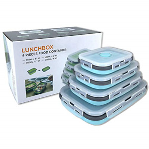 Collapsible Silicone Food Storage Container with Lid, Portable Lunch Bento Box &