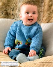 "Voiture/Fleur Motif Pull Moss Stitch 16"" - 22"" DK Baby Knitting Pattern"