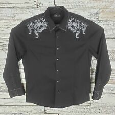7 Diamonds Mens Button Down Long Sleeve Shirt Black White Paisley Size XL