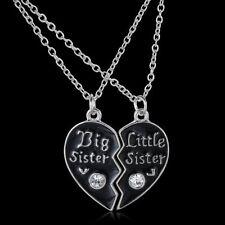 2pcs Black Big Litter Sister Crystal Heart Pendant Necklace Broken Heart Friend