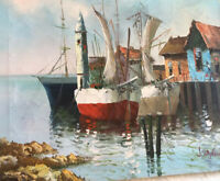 Vintage Oil Painting Sailboat At Dock Oil 24 W X 20 High J DeNovi Impressionist
