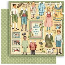 """Graphic 45 Penny's Paper Doll Family FOREVER FRIENDS 12x12"""" Scrapbooking Paper"""